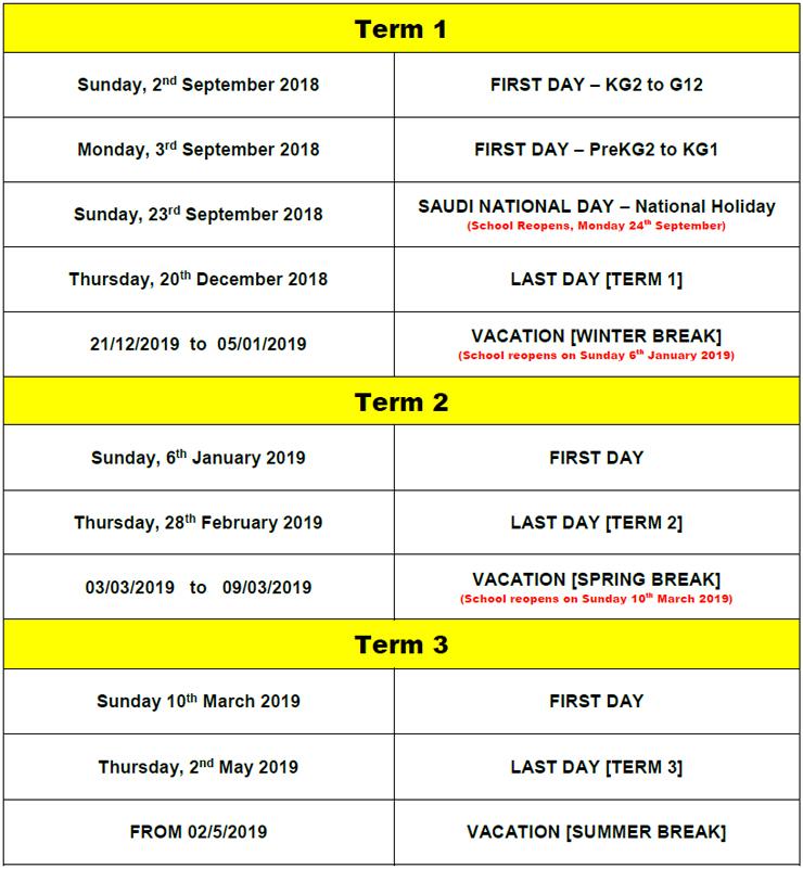 academic year 2018 2019 term dates