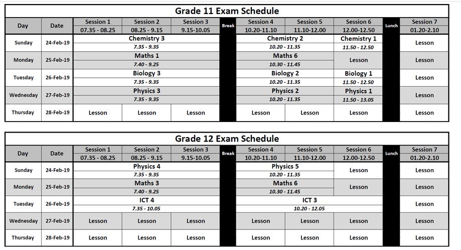 NIS | Schedules